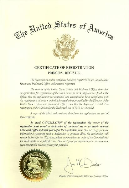 Certificate of Registration des USPTO