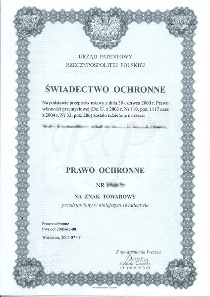 Eintragungsurkunde des polnischen Patent- und Markenamtes